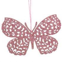 Dekorasjonshenger sommerfuglrosa glitter10cm 6stk