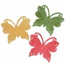 Spredt dekor sommerfugl tre oransje, gul, grønn 4cm 72p