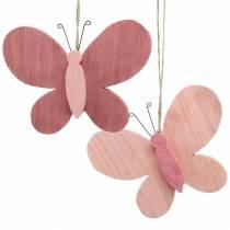 Sommerfugl å henge tre rosa 13cm x 22cm 2stk
