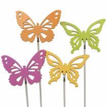 Blomsterplugg sommerfuglved 7x5,5cm 12stk assortert
