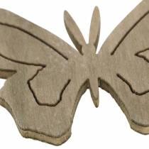Butterfly wood hvit, krem, brun assortert 4cm 72stk borddekorasjon vår