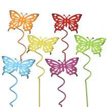 Blomsterknopper sommerfugl flerfarget 22cm 12stk