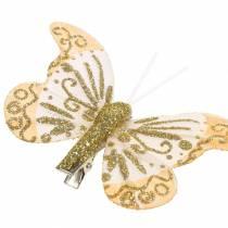Fjærsommerfugl på klips gullglitter 10stk