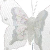 Sommerfugler med perler og glimmer, bryllupsdekorasjoner, fjærsommerfugler på hvit ledning