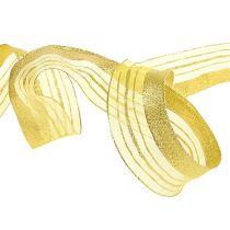 Dekorativt bånd med lurex striper gull 40mm 20m