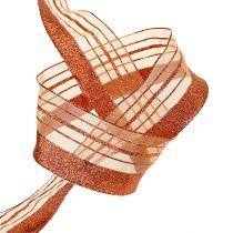 Dekorativt bånd med lurexstrimler kobber 40mm 20m