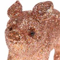 Dekorativ grisglitterrosa 10cm 8stk