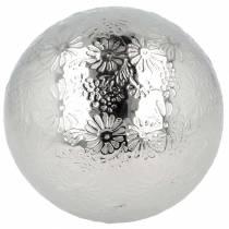Flytende ball blomster sølvmetall Ø10cm