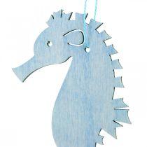 Seahorse å henge blå, hvit henger maritim dekor 8stk