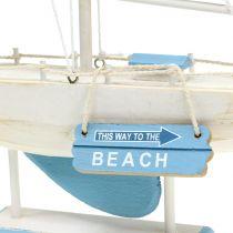Dekorativ seilbåt i treblå, hvit H41,5cm