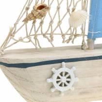 Dekorativ seilbåt treblå hvit natur 20x4cm H30cm