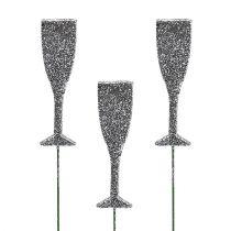 Champagneglass med glinsersølv 8cm L28cm 24stk