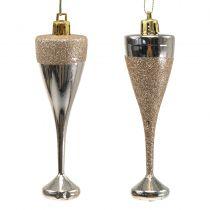 Champagneglass for å henge lys gull 10cm 8stk