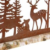 Skogsilhouette med rustikke dyr på trebunn 57cm x 25cm