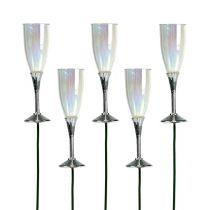 Nyttårsaften deco champagneglassplugg sølv 7,5cm L27cm 12stk