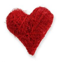 Sisal hjerter 5-6 cm rød 24stk