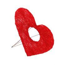 Sisal hjerte mansjett rød 15cm 10stk.