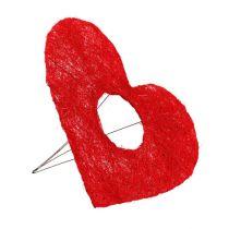 Sisal hjerte mansjett 20cm rødt hjerte sisal blomsterdekorasjon 10stk