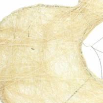 Sisal ermet hjerte bleket 16cm 10stk
