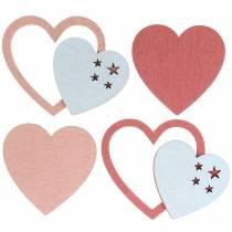 Spredte hjerter rosa / hvite 24stk