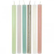 Koniske stearinlys farget gjennom forskjellige farger 21 × 240mm 12stk