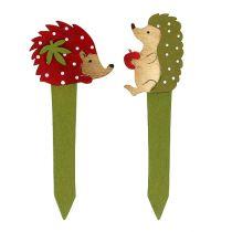 Pinnsvinplugger rød, grønn 13cm 16stk