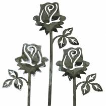 Metallplugg rose sølvgrå, hvitvasket metall 20cm × 8cm 12stk
