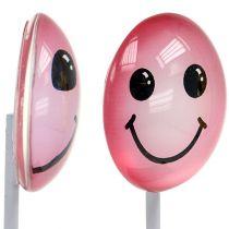 Dekorativ smiley på pinnen, assorterte farger 3,5 cm 8stk