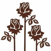 Metallpinner Rose Edelrost metall 20cm × 11,5cm 8stk