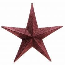 Glitterstjerne for å henge burgunder Ø30cm