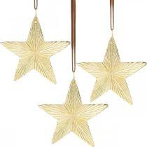 Stjerner å henge, metallpynt, juletrepynt gull 9,5 × 9,5cm 3 stk