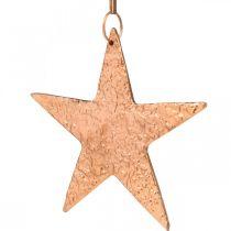 Dekorativ stjerne til å henge, adventsdekorasjon, metallpendler kobberfarget 12 × 13cm 3stk