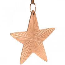 Stjerneanheng, julepynt, metallpynt kobberfarget 9,5 × 9,5 cm 3 stk