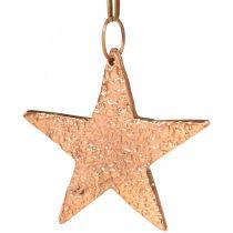 Kobberstjerne å henge, dekorasjon av juletre, anheng i metall 8 × 9cm 2 stk