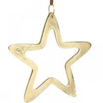 Julevedheng, stjernedekorasjon til advent, dekorasjonsstjerne gyllen 14 × 14cm