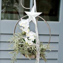 Stjerne å henge, juletrepynt, metallpynt hvit 19,5 × 18,5 cm