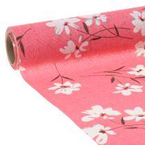 Dekorativt stoff blomster rosa 30cm x 3m