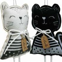 Stoffkatter å henge, vårdekorasjon, dekorasjon hanger katt, gave dekorasjon 4stk