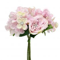 Bukett rosa med perler 29cm