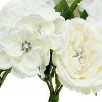Dekorativ bukett hvit med perler og rhinestones 29cm