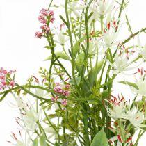 Vårbukett kunstig rosa, hvit, grønn kunstig bukett H43cm