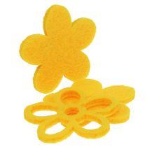Scatter deco felt blomst gul assortert 4cm 72p