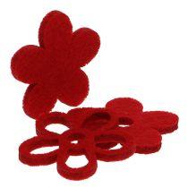 Scatter deco felt blomst rød assortert i blandingen Ø4cm 72stk