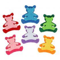 Spredt bjørn laget av filt assorterte farger 3,5 cm x 3,5 cm 100 stk