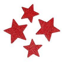 Spredte stjerner rød, glimmer 4-5cm 40stk