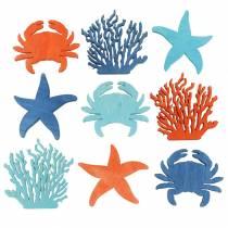 Maritime Streudeko tre lyseblå, blå, oransje assortert 4cm 72p