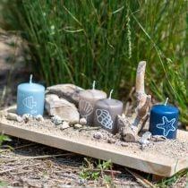 Pillelys 60/50 Maritim dekorasjonsstearinlys Sommerdekorasjon Mix Safe Candle 4stk