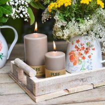 Rent søyle stearinlys brun 90/60 naturlig vokslys stearin rapslys dekorasjon