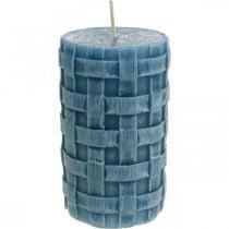 Søylelys blå, vokslys Rustikk, lys med flettet mønster 110/65 2stk