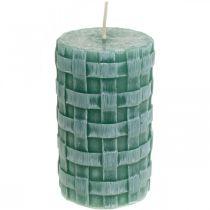 Stearinlys med flettet mønster, søylestearin Rustikk grønn, stearinlys 110/65 2stk